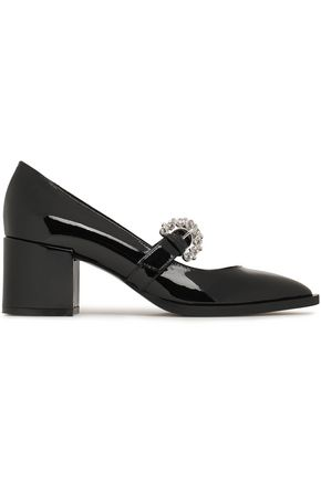 McQ Alexander McQueen Crystal-embellished patent-leather Mary Jane pumps