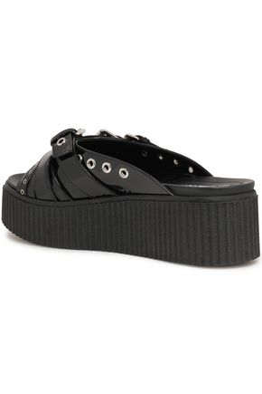 McQ Alexander McQueen Buckled patent-leather platform slides