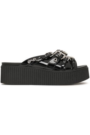McQ Alexander McQueen Buckled leather platform slides
