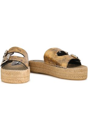 McQ Alexander McQueen Metallic cracked-leather espadrille slides