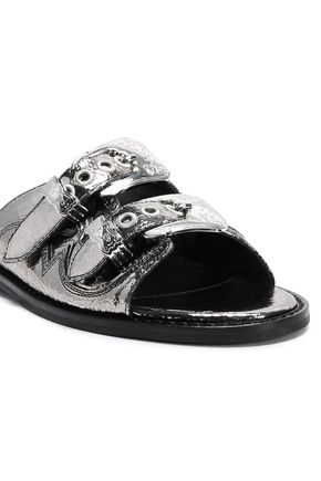 McQ Alexander McQueen Metallic cracked faux leather sandals