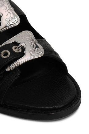 McQ Alexander McQueen Buckled textured-leather slides