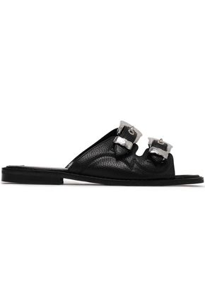 McQ Alexander McQueen Buckled textured-leather slides