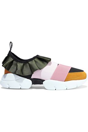 EMILIO PUCCI City ruffled duchesse-satin, neoprene and suede slip-on sneakers