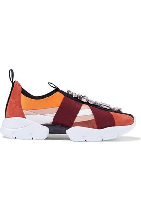 EMILIO PUCCI Crystal-embellished printed neoprene and suede slip-on sneakers