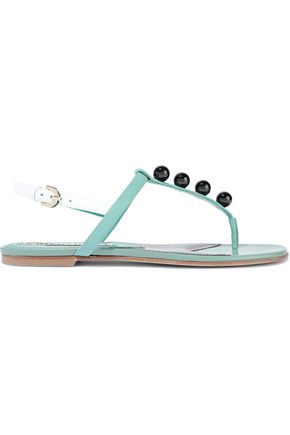 EMILIO PUCCI Bead-embellished leather slingback sandals