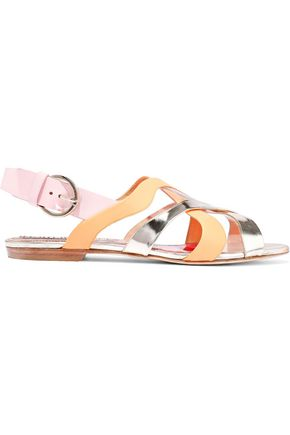 EMILIO PUCCI Color-block matte and metallic leather slingback sandals