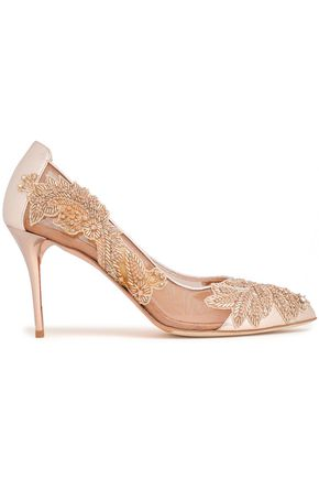 OSCAR DE LA RENTA Embellished mesh and metallic leather pumps