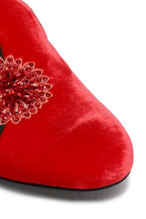 OSCAR DE LA RENTA Embellished embroidered velvet slippers