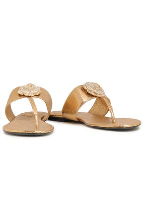 OSCAR DE LA RENTA Crystal-embellished metallic cracked-leather sandals
