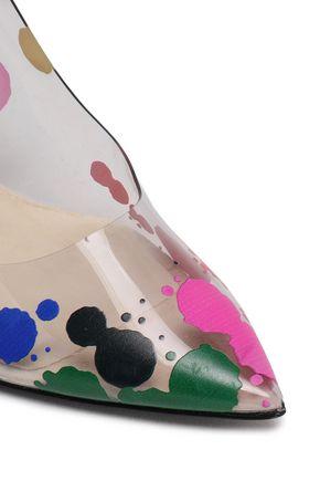 OSCAR DE LA RENTA Painted PVC and canvas pumps