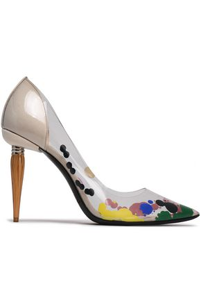 OSCAR DE LA RENTA Painted PVC and canvas pumps