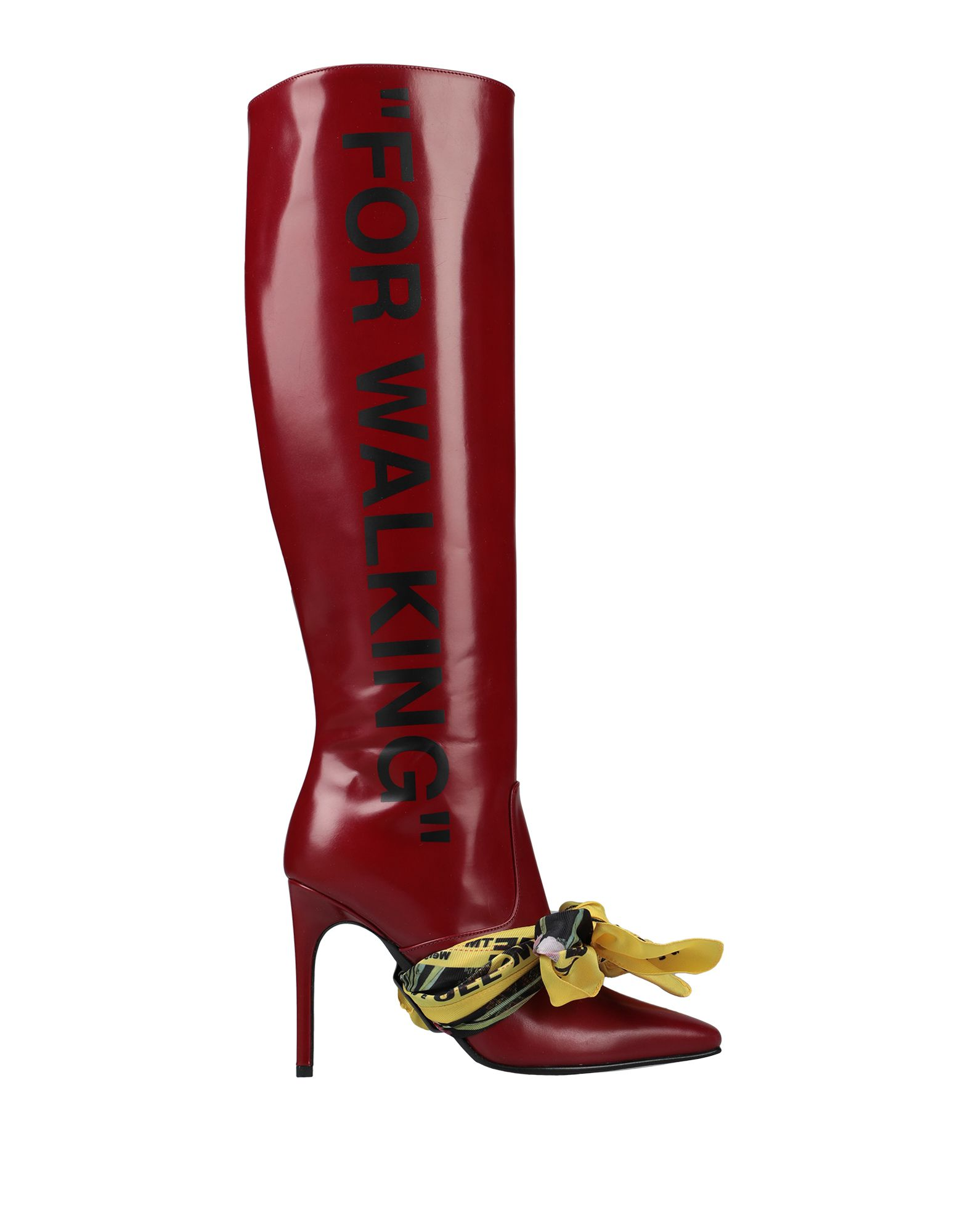 OFF-WHITE™ Boots. polished leather, print, solid color, zip, narrow toeline, spike heel, leather lining, leather sole, contains non-textile parts of animal origin, small sized. Soft Leather
