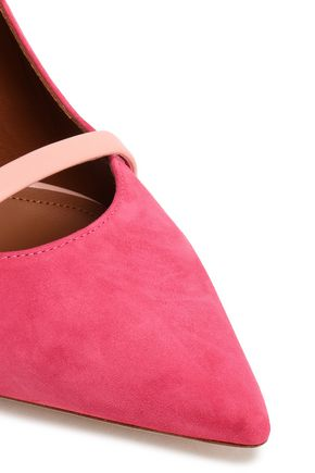 MALONE SOULIERS Leather-trimmed suede mules