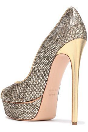 CASADEI Leather-trimmed glittered platform sandals