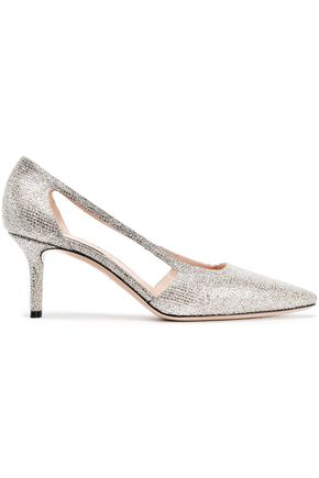 CASADEI Cutout glittered pumps