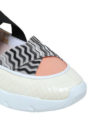 EMILIO PUCCI Snake-effect and mirrored leather slip-on sneakers