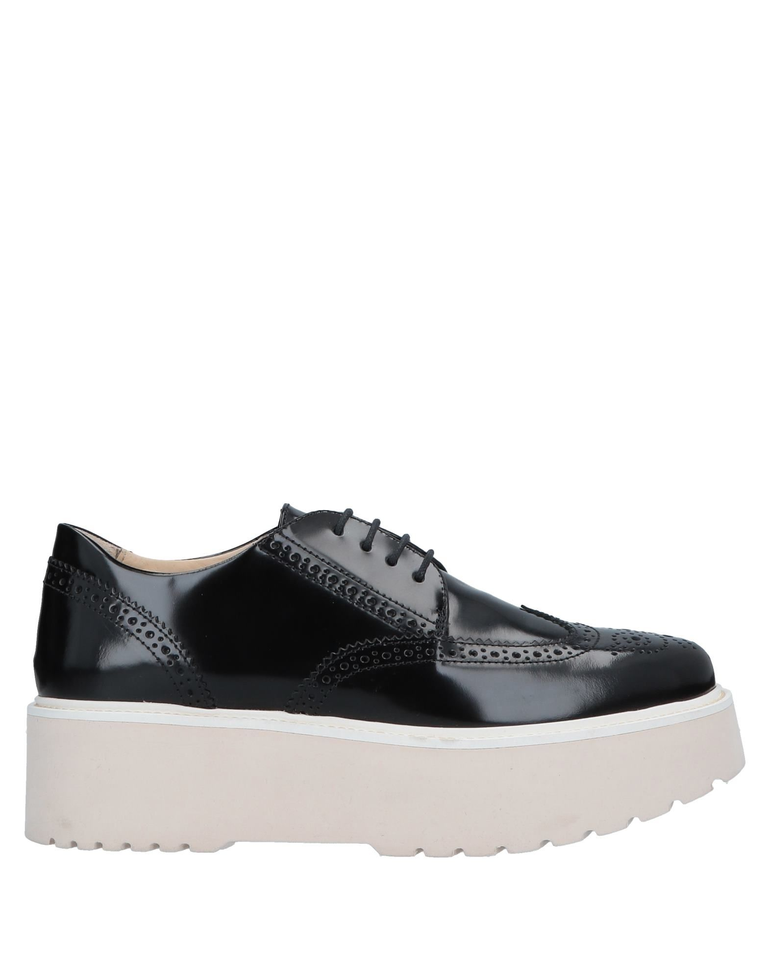 HOGAN Lace-up shoes. leather, polished leather, no appliqués, solid color, round toeline, flatform, leather lining, rubber sole, contains non-textile parts of animal origin. Soft Leather