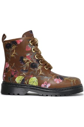 MOTHER OF PEARL Lace-up floral-print leather ankle boots