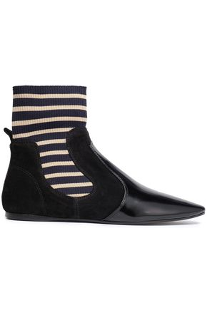 ACNE STUDIOS Suede, patent-leather and stretch-knit sock boots