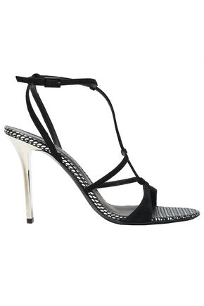 EMPORIO ARMANI Arbento metallic leather-trimmed suede sandals
