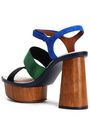EMPORIO ARMANI Color-block faille and suede platform sandals