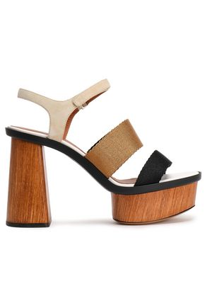 EMPORIO ARMANI Color-block faille and suede platform sandals