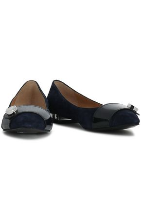 EMPORIO ARMANI Embellished patent-leather and suede ballet flats