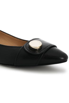 EMPORIO ARMANI Embellished leather ballet flats