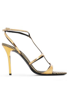 EMPORIO ARMANI Metallic patent-leather sandals