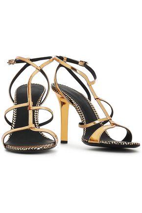 EMPORIO ARMANI Metallic patent-leather sandals