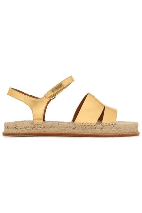 EMPORIO ARMANI Metallic leather espadrille sandals