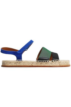 EMPORIO ARMANI Grosgrain and suede espadrille sandals