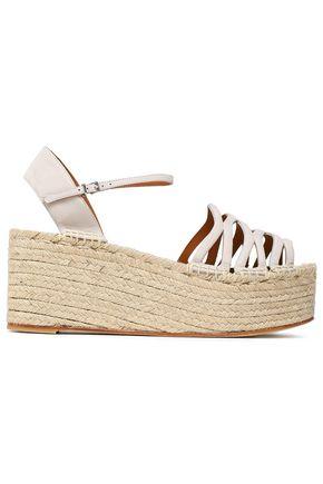 GIORGIO ARMANI Cutout suede wedge espadrille sandals