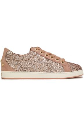 JIMMY CHOO Studded suede-paneled glittered leather sneakers
