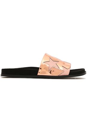 STELLA McCARTNEY Laser-cut mirrored faux leather slides