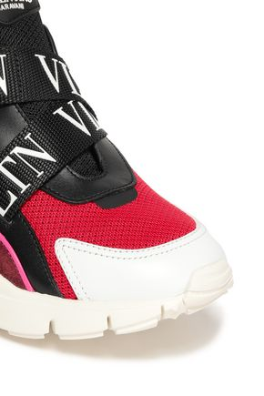 VALENTINO GARAVANI Paneled mesh and suede sneakers