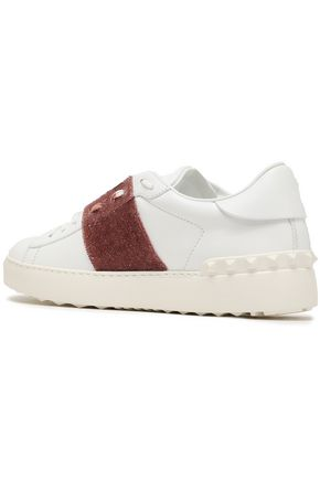 VALENTINO GARAVANI Crystal-embellished leather sneakers