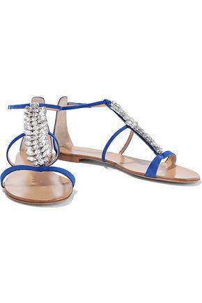 Giuseppe Zanotti Woman Crystal-Embellished Suede Sandals Cobalt Blue