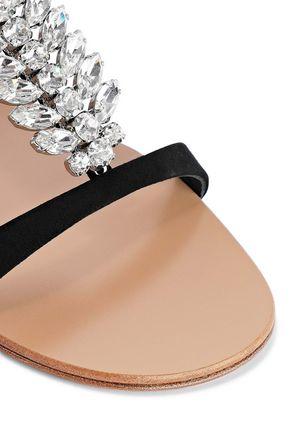 GIUSEPPE ZANOTTI Crystal-embellished suede sandals