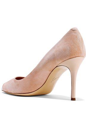 GIUSEPPE ZANOTTI Lucrezia 90 patent leather-trimmed suede pumps