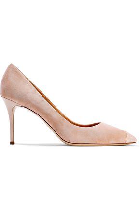 GIUSEPPE ZANOTTI Lucrezia 90 patent leather-rimmed suede pumps