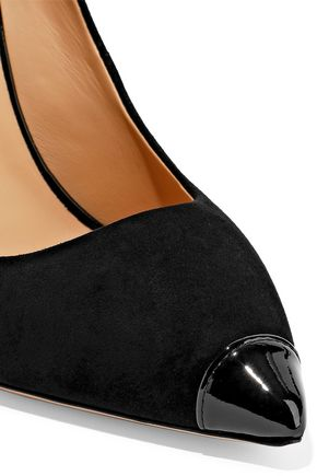 GIUSEPPE ZANOTTI Lucrezia 105 patent leather-trimmed suede pumps