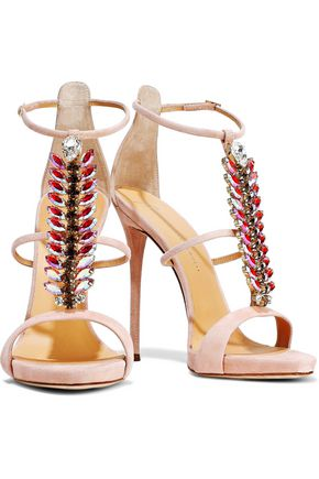 Giuseppe Zanotti Woman Coline Crystal-Embellished Suede Sandals Blush