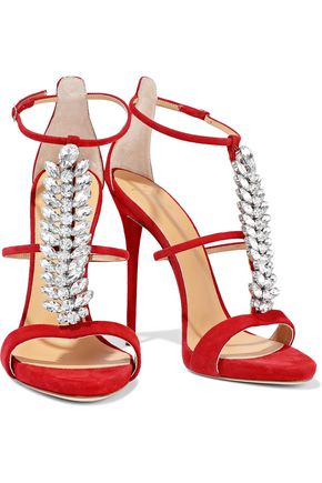 Giuseppe Zanotti Woman Coline Crystal-Embellished Suede Sandals Red