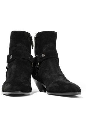 SAINT LAURENT West 40 ring-embellished suede ankle boots