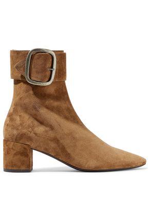 SAINT LAURENT Joplin buckled suede ankle boots
