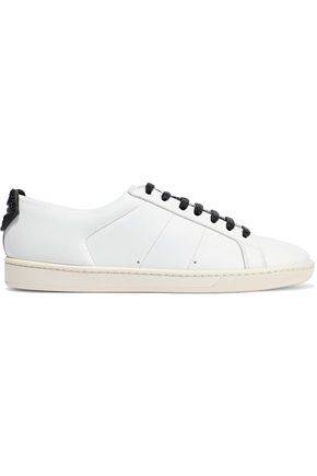 SAINT LAURENT Court appliquéd leather sneakers