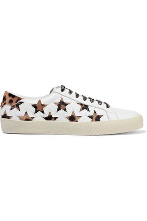 Court Classic Leopard Print Calf Hair And Laser Cut Leather Sneakers by Saint Laurent