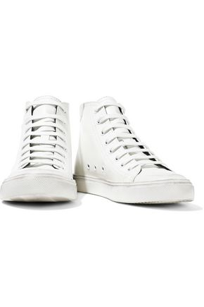 SAINT LAURENT Bedford appliquéd distressed leather high-top sneakers